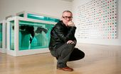"Damien Hirst with ""Mother and Child (Divided)"". Exhibition copy, 2007 (original 1993)"