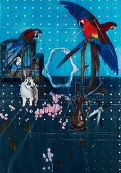 Three Parrots with Rabbit and Scissors. 2010. © Damien Hirst and Science Ltd. All rights reserved, DACS 2012