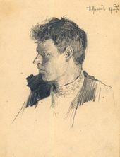 ALEXEI KORIN. Portrait of the Artist Denisov. 1887