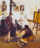 ILLARION PRYANISHNIKOV. In the Artist's Studio. 1890