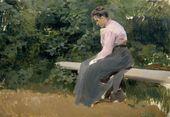 ALEXEI KORIN. Serafima Korina on a Bench. 1903