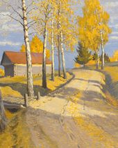 Autumn Landscape with a Small House. Detail