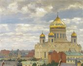 View of the Cathedral of Christ the Saviour. 1910-е