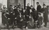 "The ""Makovets"" group of artists. 1921. Photograph. Archive of Nikolai Chernyshev's family"