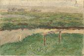 NIKOLAI CHERNYSHEV. Abandoned Bench. Sketch. 1909