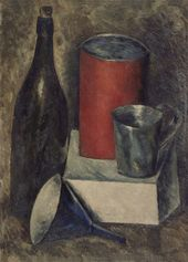 NIKOLAI CHERNYSHEV. Still-life with Red Bucket and Bottle. 1919