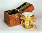 Magnetic eight-inch compass, 'dry' type, with course recorder in metal case. With case. 1850