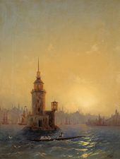 IVAN AIVAZOVSKY. View of the Maiden's Tower (Leander's Tower), Constantinople. 1848