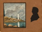 Unknown artist, unknown silhouettist. Study with Ancient Ruins and Silhouette of Pavel Gayevsky (?). First half of the 19th century