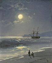 IVAN AIVAZOVSKY. A Sailing Ship on a Calm Sea at Moonlight. 1897