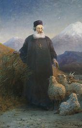 IVAN AIVAZOVSKY. Catholicos Mkrtich Khrimian in the Environs of Etchmiadzin. 1895