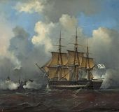 PHILIPPE TANNEUR. Russian Naval Ship at Sea. 1836