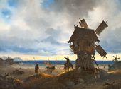 IVAN AIVAZOVSKY. Windmill on the Seashore. 1837