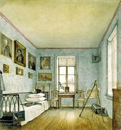 NIKOLAI TIKHOBRAZOV. A Room in Alexei Tomilov's House at His Uspenskoye Estate in Staraya Ladoga. 1838