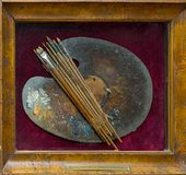 Aivazovsky's palette and brushes displayed in the painter's studio. 2016
