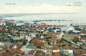 Feodosia. Panoramic view of the town. Scenic postcard. Early 20th century