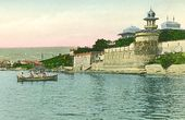 Alexei Suvorin's summer house, Feodosia. View from the sea. Scenic postcard. 1910s