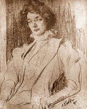 LÉON BAKST. Portrait of Zinaida Gippius