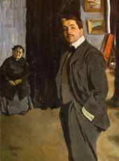 LÉON BAKST. Portrait of Sergei Diaghilev with His Nanny. 1904–1906