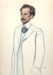 LÉON BAKST. Portrait of Andrei Bely. 1906