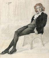 LÉON BAKST. Portrait of Zinaida Gippius. 1906