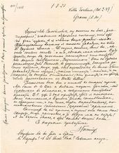 Letter from Zinaida Gippius to Léon Bakst. August 1 1923