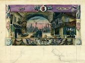 "ALEXEI SHCHUSEV. Old Paris Gateway. Scene I, Act I. Sketch of set design for ""The Sisters Gérard"". Original version. 1926–1927"