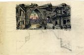 "ALEXEI SHCHUSEV. Old Paris Gateway. Scene I, Act I. Sketch of set design for ""The Sisters Gérard"". Version. 1927"