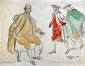 "ALEXEI SHCHUSEV. Count de Linières, Marquis de Praille. Sketch of costumes for ""The Sisters Gérard"". 1927"