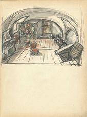 "ALEXEI SHCHUSEV. The Lair. Scene III, Act III. Sketch of set design for ""The Sisters Gérard"". Version. 1926–1927"