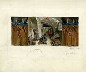 "ALEXEI SHCHUSEV. The Lair. Scene III, Act III. Sketch of set design for ""The Sisters Gérard"". Version. 1927"