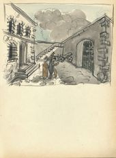 "ALEXEI SHCHUSEV. The Women's Prison Courtyard. Scene VI, Act IV. Original sketch of set design for ""The Sisters Gérard"". 1926–1927"