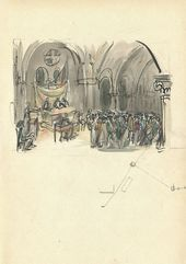"ALEXEI SHCHUSEV. At the Courthouse. Scene VIII, Act V. Sketch of set design for ""The Sisters Gérard"". 1927"