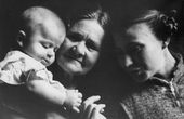 Adelaida Pologova with her son Alyosha and aunt Anna Pologova. 1955