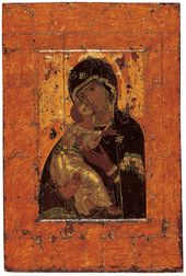 "The 'Vladimir Mother of God' icon, also known as the ""Theotokos of Vladimir"" or ""Our Lady of Vladimir"". First third of the 12th century"