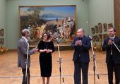 "June 13 2017. Ceremonial presentation to the Tretyakov Gallery of Erik Bulatov's ""Painting and Audience"" (2011-2013)"