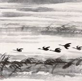 LIN FENGMIAN. Ducks on the Autumn Lake. 1960