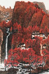 LI KERAN. 'Ten thousand mountains stretch out in red; the layered woods are coloured through'. 1973