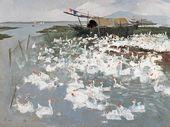 WU GUANZHONG. A Flock of Geese on Lake Tai. 1974