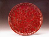 Carved Red Lacquer Dish with Peony and a Pair of Paradise Flycatchers. Lacquerware. Ming Dynasty (1368-1644)