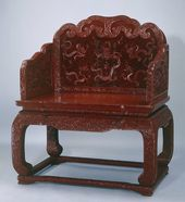 Carved Red Lacquer Throne with Nine-dragon Design. Lacquerware. Qing Dynasty (1644-1911)