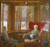 Dmitry ZHILINSKY. Portrait of Anna Alexeyevna and Pyotr Leonidovich Kapitsa. 1979