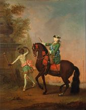 GEORG CHRISTOPH GROOTH. Portrait of Elizaveta Petrovna on Horseback Accompanied by a Negro Servant. 1743