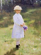 ILYA REPIN. A Girl with a Bouquet. Zdravnyovo. 1878
