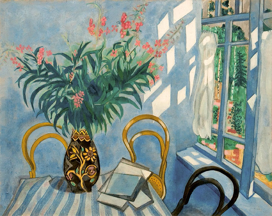 MARC CHAGALL. Interior with Flowers. 1917