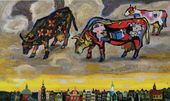 VLADIMIR KORBAKOV. Cows of Picasso Grazing in the Sky Above Amsterdam. 2010