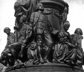 ALEXANDER OPEKUSHIN. Pedestal of the monument to Catherine the Great in St. Petersburg with sculptural group, including Vasily Chichagov, Alexei Orlov-Chesmensky, Gavriil Derzhavin and Yekaterina Dashkova. 1862–1873