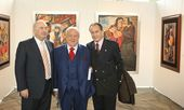 Zurab Tsereteli and Honorary members of the Russian Academy of Arts Alexander Dzasokhov (left) and Pyotr Sheremetev (right) at the opening of the exhibition of the RAA in UNESCO, 2010