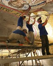 Mosaicists working under the Cupola of the Church of St. Sava. Belgrade, 2017