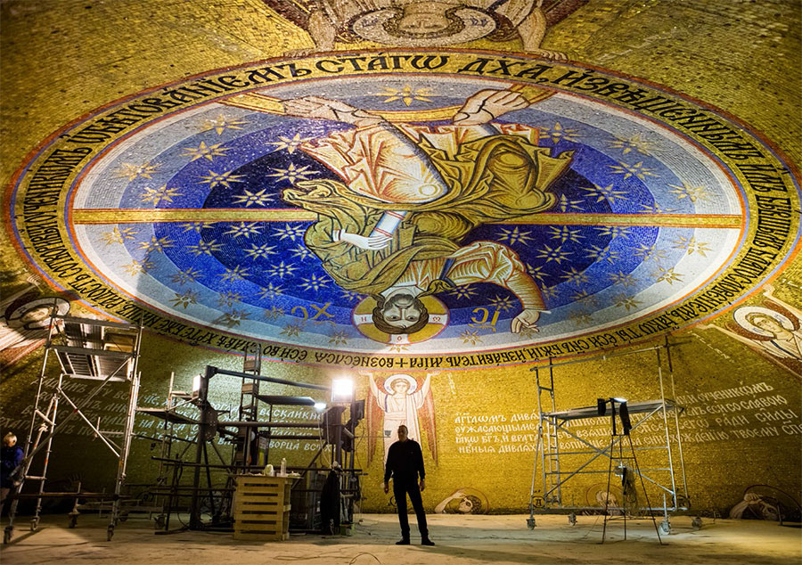 Mosaicists working in the Church of St. Sava. Belgrade, 2017